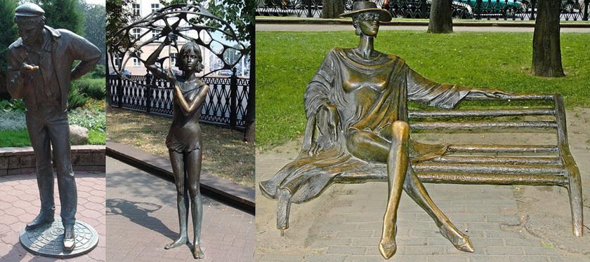 Скульптуры в Михайловском сквере в Минске