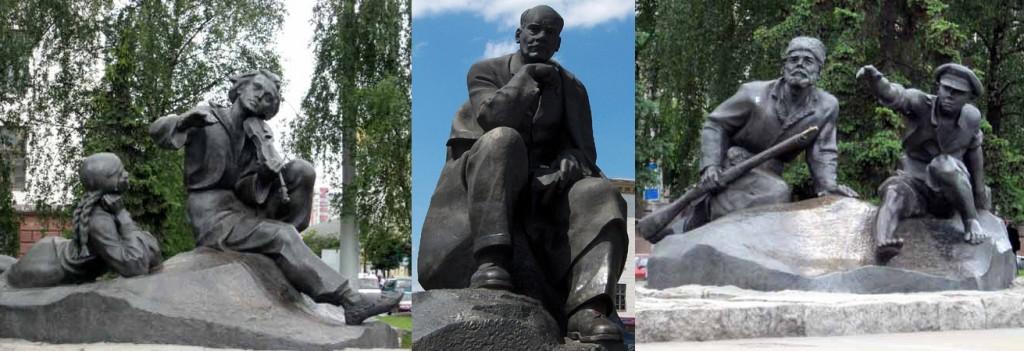 Скульптуры на пл. Якуба Коласа в Минске