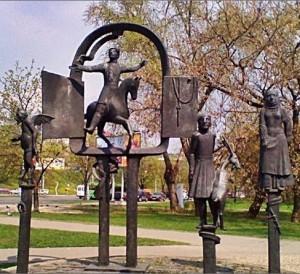 Скульптура у театра муз. комедии в Минске