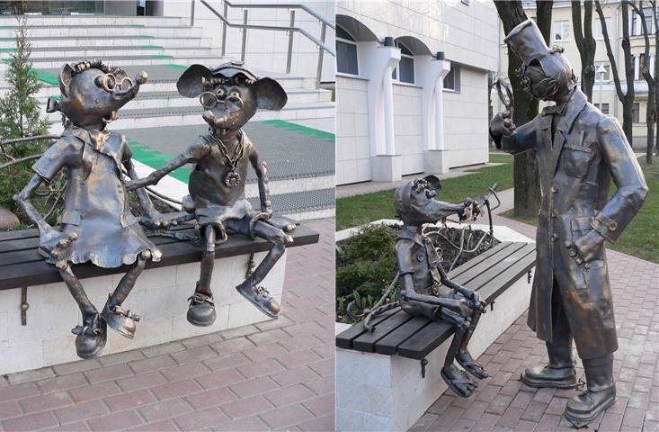 Скульптура Мыши и кот у Тракторного завода в Минске