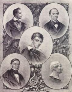 Участники общества филоматов: Томаш Зан, Игнацы Домейко, Адам Мицкевич (в центре), Антоний Одынец, Ян Чечот. Плакат 1889 года