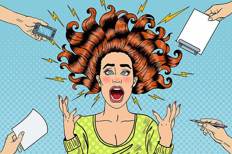 Раздраженная женщина злится много дел иллюстрация