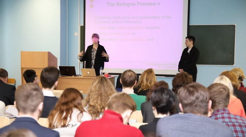 Преподаватель Медиаинститута FOJO рассказала студентам журфака БГУ о Болонском процессе. Видео