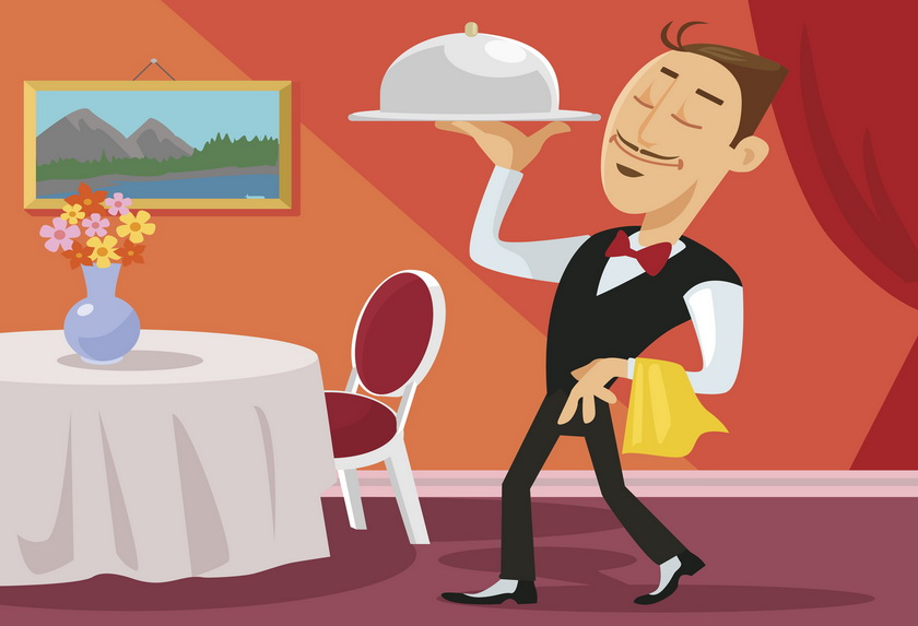 Иллюстрация хорошего официанта