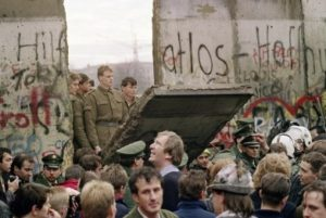 berlin wall falling down